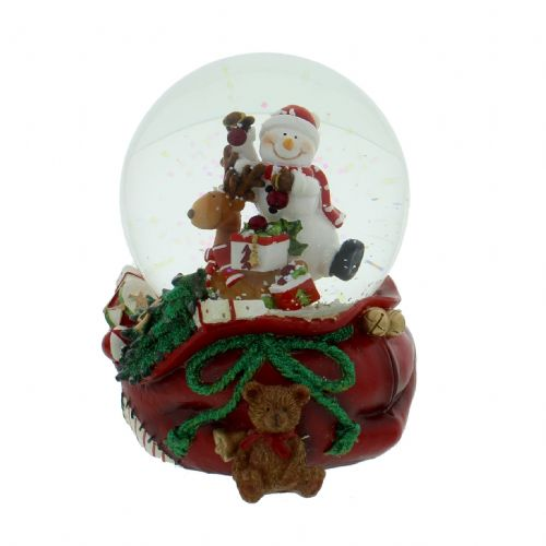 Musical Snowman & Teddy Snow Globe - Hand Painted Musical Ceramic  Snow Globe For Christmas